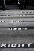 look right sign on a english london road, high contrast - stock photo