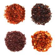 Stock Photo of SPIECES Aleppo Flakes Urfa flakes red-black pepper Sumach Red ho
