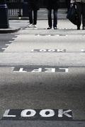 Look left sign on a english london road Stock Photos