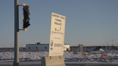 YYC airport tunnel sign during construction Stock Footage
