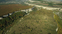 Aerial View: Uspensky Orthodox Cave Monastery, near Bakhchisaray, Crimea Stock Footage