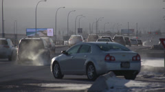 Very cold winter afternoon, traffic Long shot Stock Footage