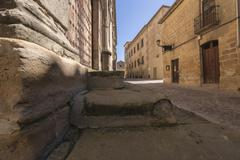 street san juan of the cruz, to the fund romanesque church of san miguel of t - stock photo