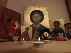 praying jesus christ easter resurrection icon prayer lighting tealight candle - stock footage