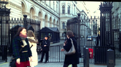 EDITORIAL ONLY: Downing Street gates opened by police officers Stock Footage