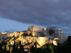 Acropolis in Athens, Greece in the evening after sunset Stock Footage