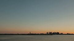 Time lapse Boston Airport Skyline Sunset wide - stock footage