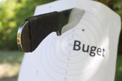 Bullseye and knife Stock Photos
