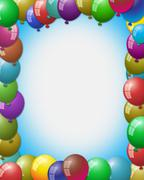 Empty space at center surrounded by balloons Stock Illustration