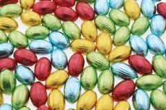 easter chocolates wrapped in colored foil - stock photo