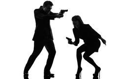 Pari nainen mies etsivä salainen agentti rikollinen siluetti Kuvituskuvat
