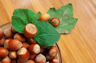 Some hazelnuts in plate Stock Photos