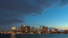 Time lapse Boston Skyline Night - stock footage