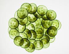 organic cucumber slices - stock photo