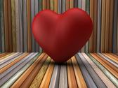 Stock Illustration of 3d red heart shape in wooden room