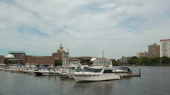 Time lapse Boston Cambridge Marina Stock Footage