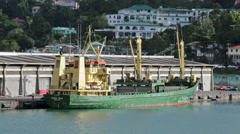 Cargo ship unloading St Lucia Castries harbor HD 1712 Stock Footage