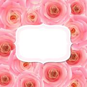 Label with pink rose Stock Illustration