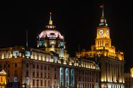 Stock Photo of custom house hsbc building  the bund at night shanghai china