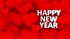 3d many hearts overlap, happy new year text Stock Illustration
