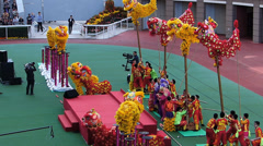 Chinese New Year Lion Dance Hong Kong Jockey club China Asia - stock footage