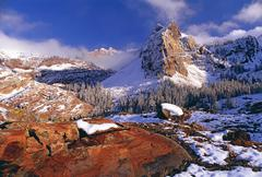 Winter in cottonwood canyon in the mountains of the wasatch range. pine fores Stock Photos