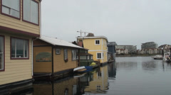 Barge houses Victoria - stock footage