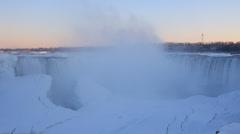 Niagara Falls Winter Sunset Stock Footage