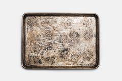 A well used, seasoned baking tray. cookware. baking sheet. Stock Photos