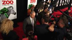 Matt Damon, Scarlett Johansson, and line of reporters (BoughtZoo-38) Stock Footage