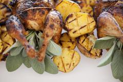 Organic free-range cooked chicken and roasted potatoes on a dish. food for a Stock Photos