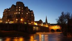 Day to Night time lapse of The Empire Hotel and Pulteney Bridge, Bath Stock Footage