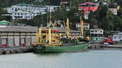 St Lucia Castries cargo ship unloading harbor HD 1710 Stock Footage