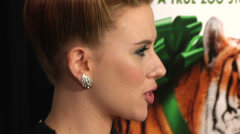 Scarlett Johansson gives an interview on the red carpet (BoughtZoo-47) Stock Footage