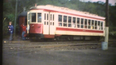 1950's & 60's  vintage, trolley train station Stock Footage