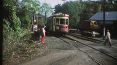 1950's & 60's  vintage, Trolley/ train engine Stock Footage