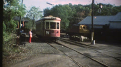1950's & 60's  vintage, trolley train Stock Footage