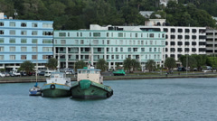 St Lucia Castries tug boats bay city fast HD 1706 Stock Footage