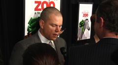 Matt Damon gives an interview on the red carpet (BoughtZoo-37) Stock Footage