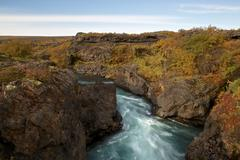 Time lapse photo of small canyon stream in iceland Stock Photos