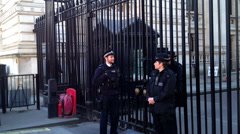 EDITORIAL ONLY: Downing Street gates with police Stock Footage