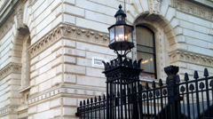 Downing Street gates and street sign, Whitehall, London Stock Footage