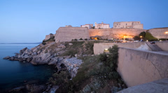 A timelapse view of the citadel at Calvi, Corsica, France Stock Footage