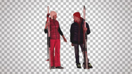 Stock Video Footage of guy & girl are standing with skis