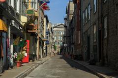 rue garneau, quebec city - stock photo