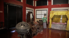 Indoor scene of Chinese ancient building Stock Footage