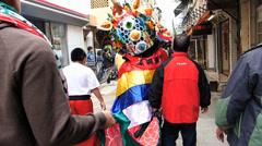 Hong Kong Cheung Chau Chinese New Year Lion Unicorn dance Stock Footage