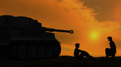 soldiers talking beside armor on sunset background - stock footage