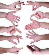 Set of gestures hands over white background Stock Photos