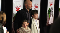 Benjamin Mee, Ella Mee and Milo Mee on the red carpet (BoughtZoo-03) Stock Footage